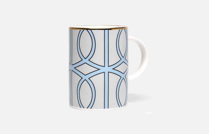 MLA034G Loop Pale Grey/Aqua Mug (gold rim)