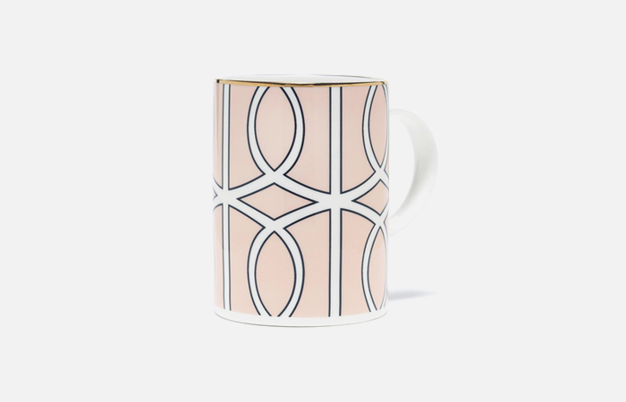 MLBL042G Loop Blush/White Mug (gold rim)