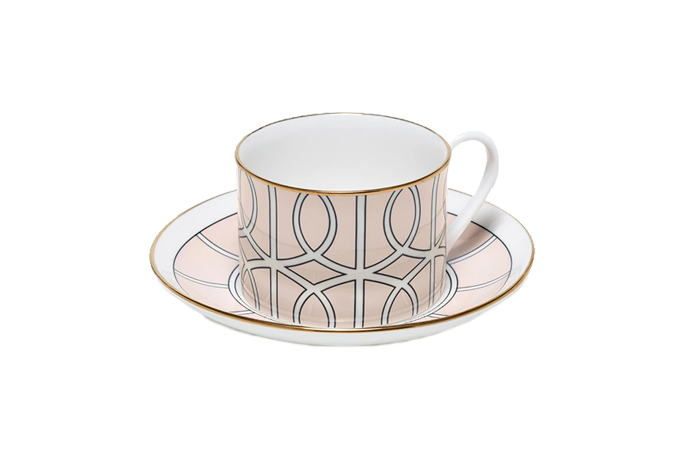 TCLBL042G Loop Blush/White Teacup & Saucer (gold rim)