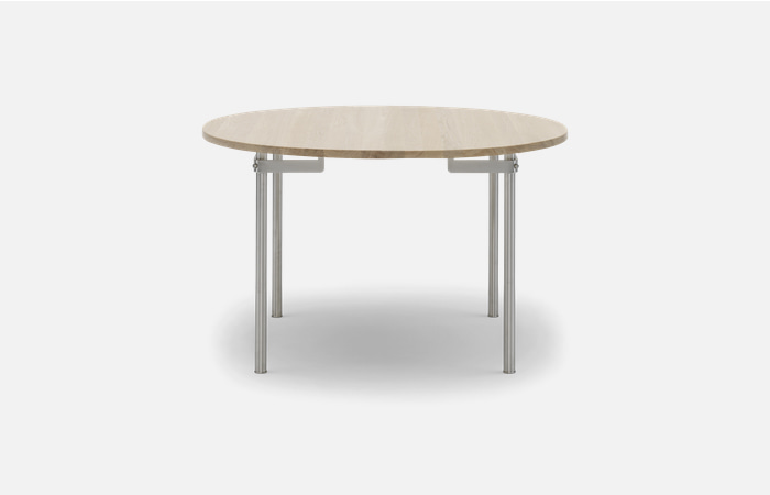 CH388 - Table Ø120-stainless frame oak oil