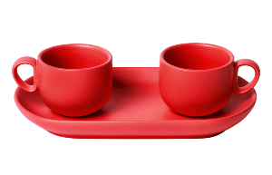 Set 2 coffee cups with tray Red