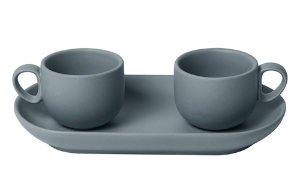 Set 2 coffee cups with tray Grey