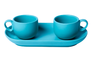 Set 2 coffee cups with tray Light blue