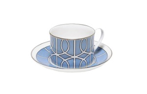 TCLB035S Loop Cornflower Blue/White Teacup & Saucer (silver rim)
