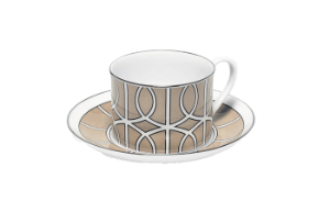 TCLT043S Loop Truffle/White Teacup & Saucer (silver rim)