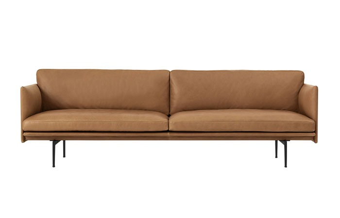 Outline Sofa 3-Seater Refine Leather / Polished Aluminum (Cognac)